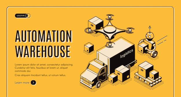 Sito web isometrico per l'automazione del magazzino di consegna Vettore gratuito