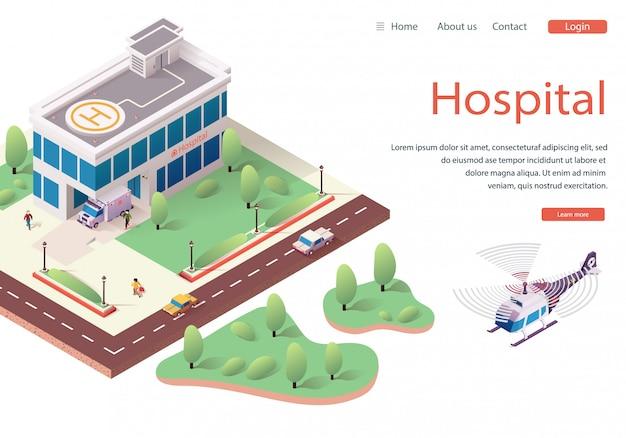 Sito web modello ospedale, homepage web di destinazione Vettore Premium