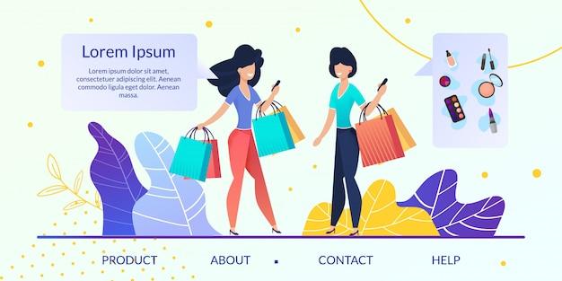 Sito web piatto vettoriale negozio online di articoli da donna Vettore Premium