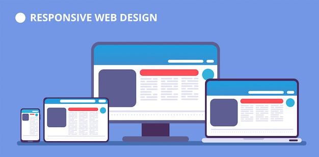 Sito web reattivo. pagina web su diversi dispositivi. tablet e telefono, laptop e display del computer con il web design. illustrazione vettoriale Vettore Premium