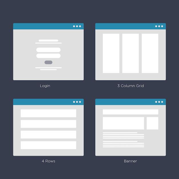 Sito web wireframe layouts kit di interfaccia utente per la mappa del sito e ux design Vettore Premium
