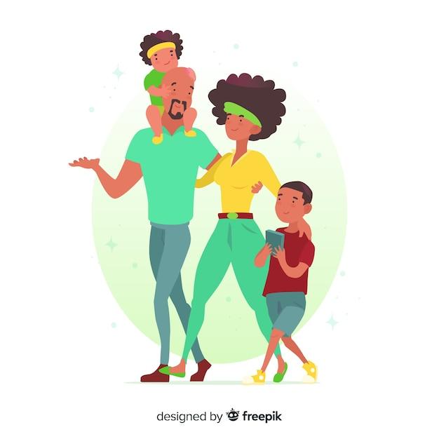 Situazione esterna della famiglia disegnata a mano Vettore gratuito
