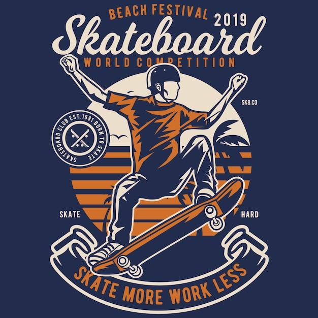 Skateboard beach Vettore Premium