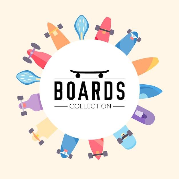 Skateboard e sfondo collezione skateboard con skateboard situati su un cerchio Vettore gratuito