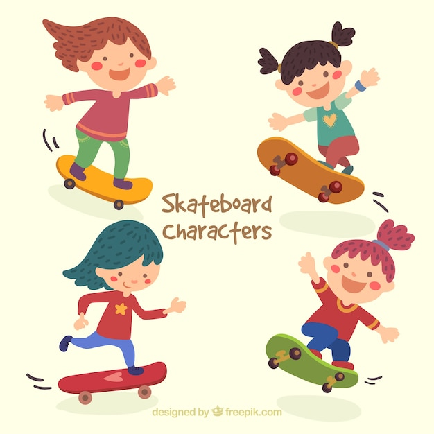 Skater girl illustrazione Vettore gratuito