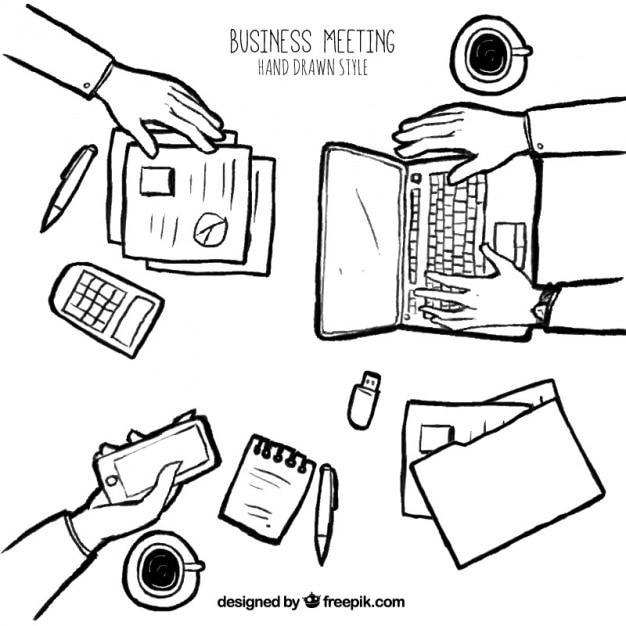 Sketch di incontro di lavoro Vettore gratuito