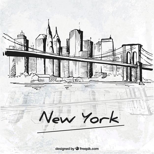 Sketchy new york city Vettore gratuito