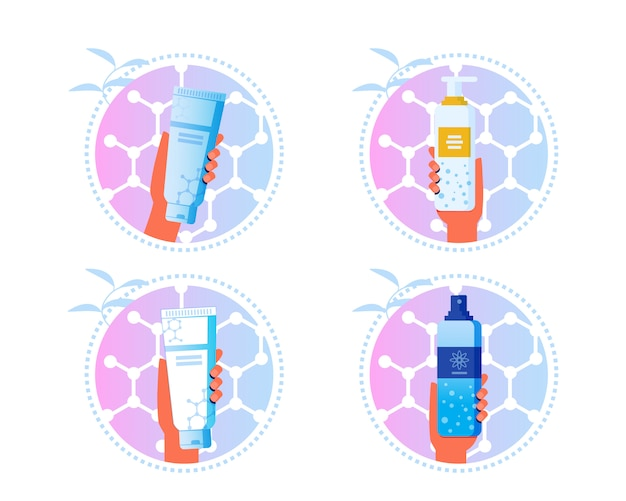 Skincare cosmetics cartoon labels set di adesivi Vettore Premium