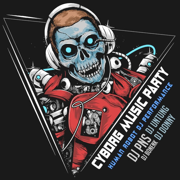 Skull dj music robot cyborg android horor party artwork Vettore Premium