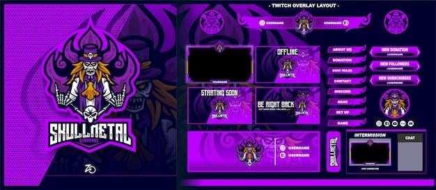 Skull ghost gaming layout Vettore Premium