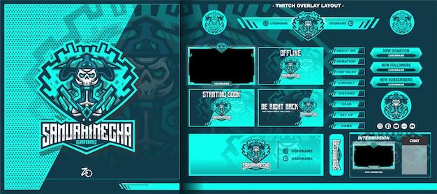 Skull samurai layout di gioco Vettore Premium