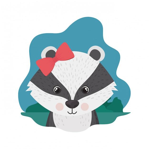 Skunk carino e adorabile Vettore Premium