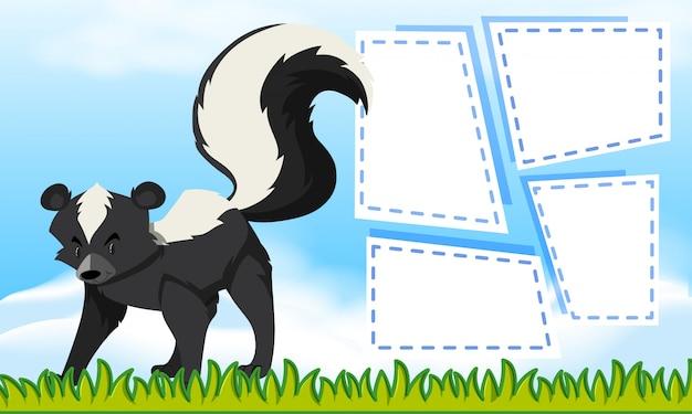Skunk sul modello di nota Vettore gratuito