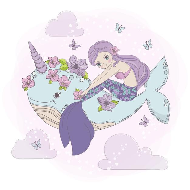 Sky mermaid sea princess dream cartoon Vettore Premium