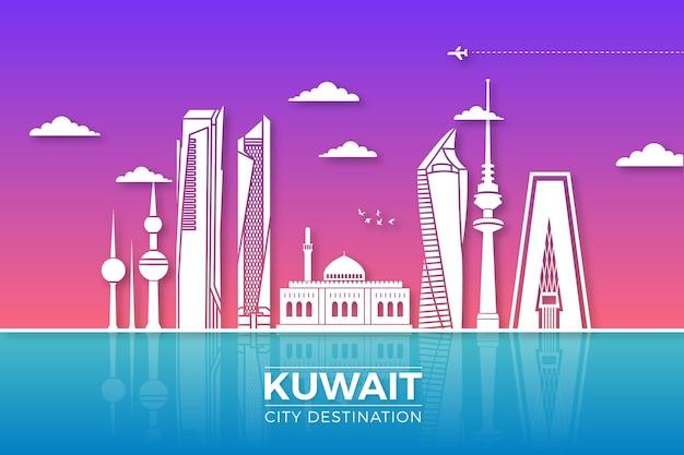 Skyline del kuwait in stile carta Vettore gratuito