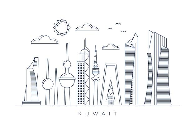 Skyline del kuwait lineare Vettore gratuito