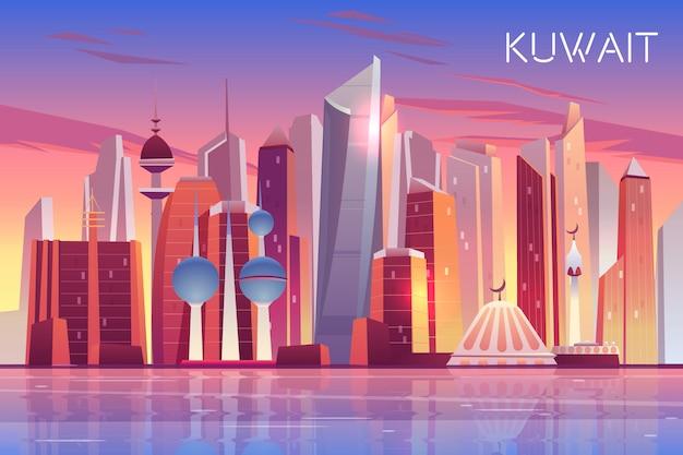 Skyline della città del kuwait. priorità bassa panoramica moderna dello stato arabo Vettore gratuito