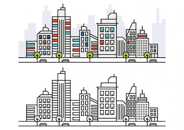 Skyline della città di lineart Vettore Premium