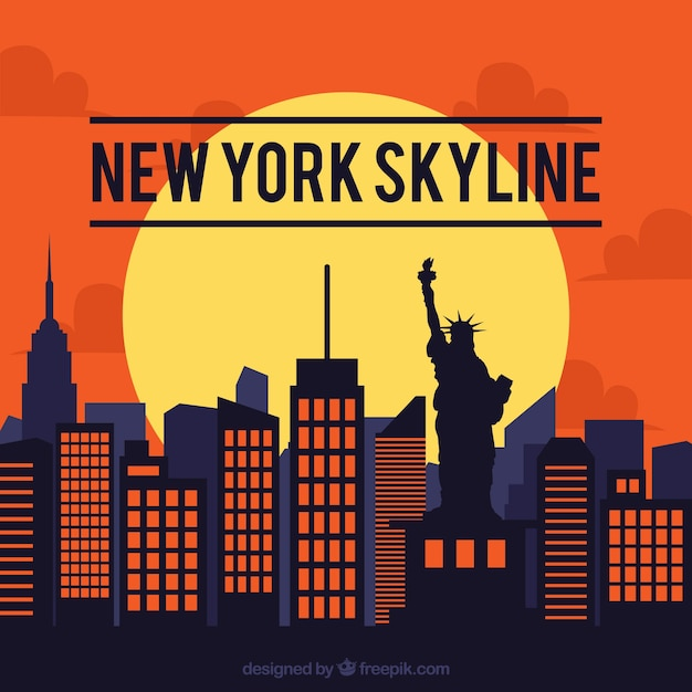 Skyline design di new york Vettore gratuito