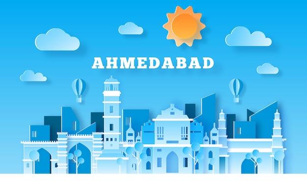 Skyline di ahmedabad in stile carta Vettore gratuito