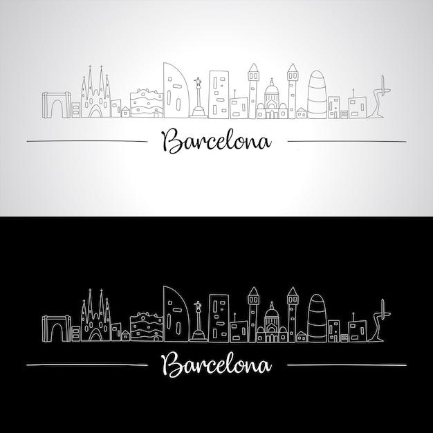 Skyline di barcellona con tutti gli edifici famosi Vettore Premium