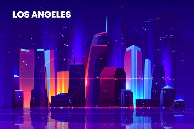 Skyline di los angeles con illuminazione al neon. Vettore gratuito