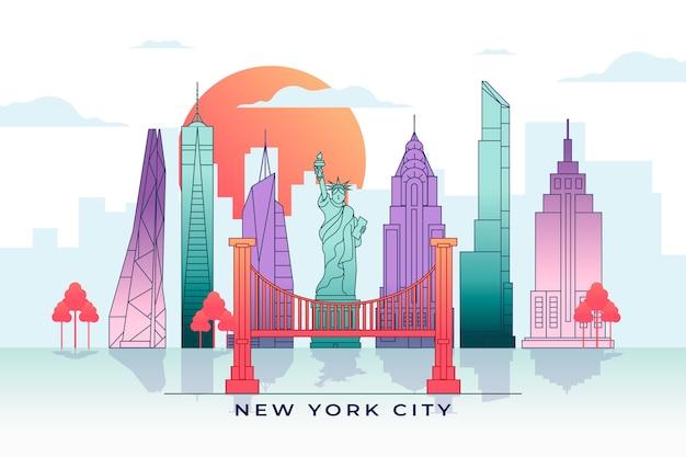 Skyline di monumenti colorati con strutture famose Vettore gratuito