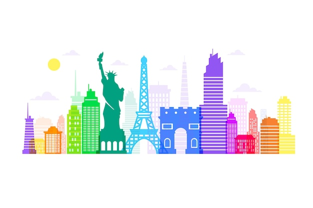 Skyline di monumenti colorati Vettore gratuito