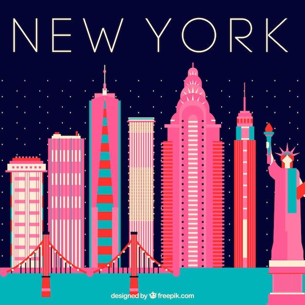 Skyline di new york con edifici rosa Vettore gratuito