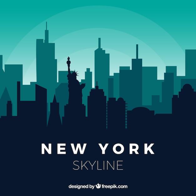 Skyline di new york nei toni del verde Vettore gratuito