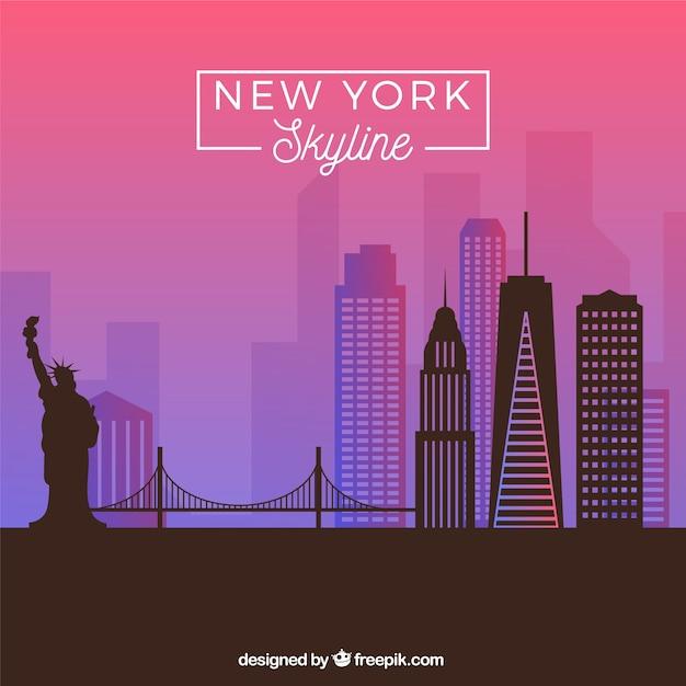 Skyline di new york nei toni viola Vettore gratuito