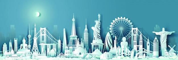 Skyline di punti di riferimento del monumento del viaggio mondiale Vettore Premium