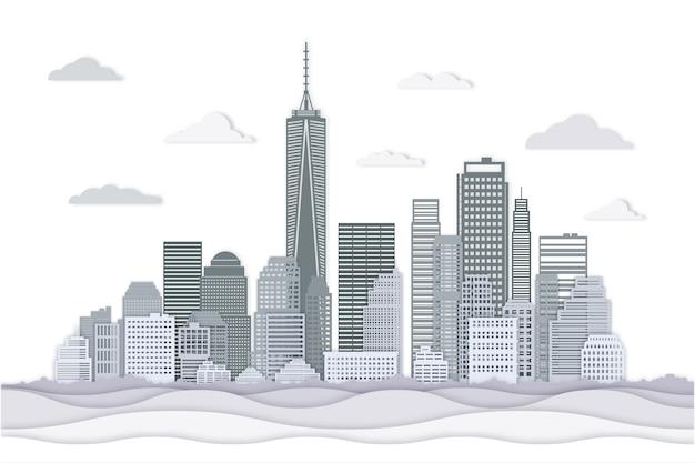Skyline di punti di riferimento in stile carta Vettore gratuito