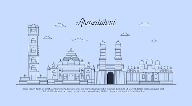 Skyline lineare di ahmedabad di schizzo Vettore gratuito