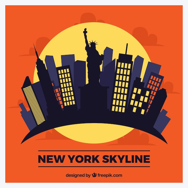 Skyline moderna di new york Vettore gratuito