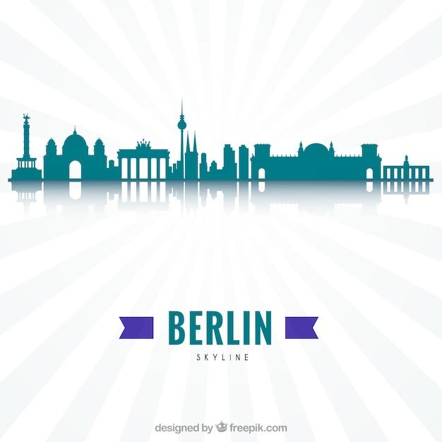 Skyline moderno di berlino Vettore gratuito