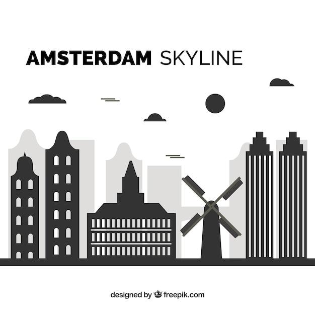 Skyline nero di amsterdam Vettore gratuito