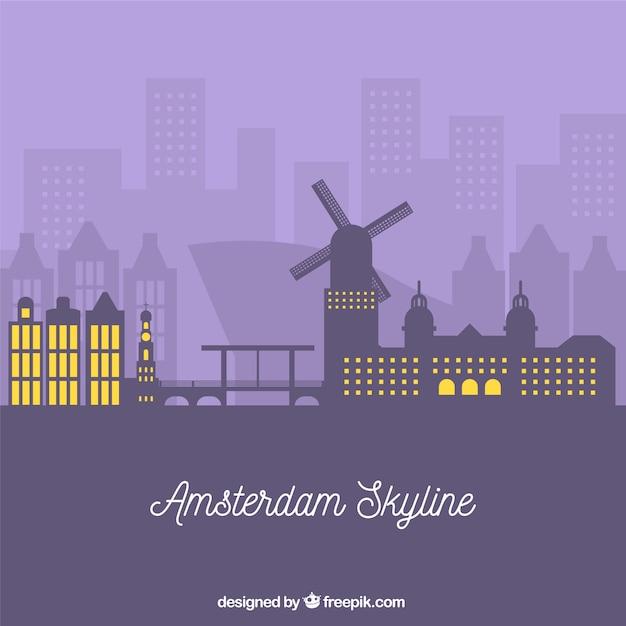 Skyline viola di amsterdam Vettore gratuito