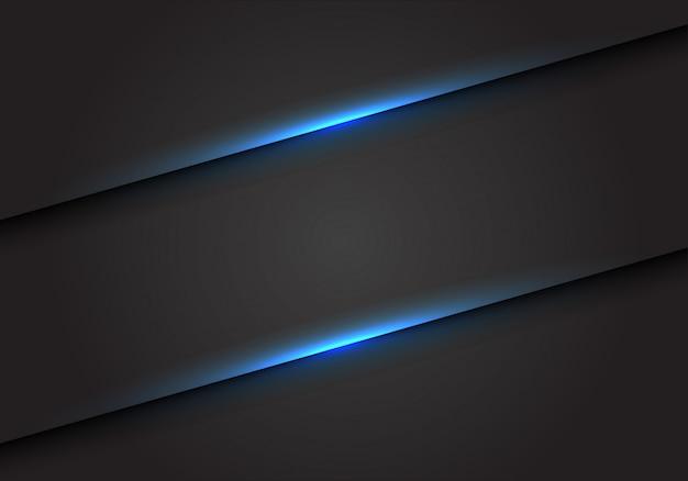 Slash linea di luce blu su sfondo spazio vuoto grigio scuro. Vettore Premium