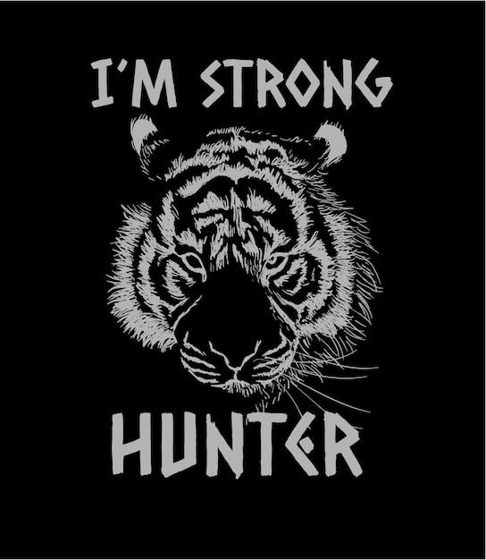 Slogan con illustrazione di schizzo di tigre Vettore Premium