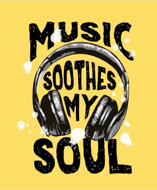 Slogan musicale con illustrazione di cuffie in bianco e nero Vettore Premium