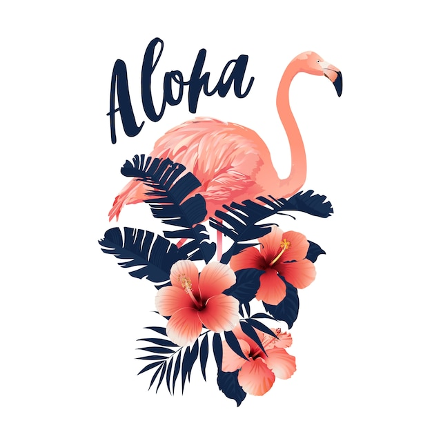 Slogan tropicale con illustrazione di flamingo e ibisco. Vettore Premium