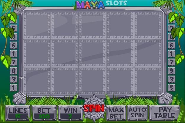 Slot azteco. menu completo di interfaccia utente grafica e set completo di pulsanti per la creazione di giochi da casinò classici. slot machine con interfaccia in stile maya Vettore Premium