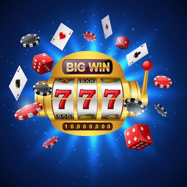 Slot machine 777 con grandi vincite, casinò con chip poker, dadi e carte da gioco sul blu scintillante. Vettore Premium