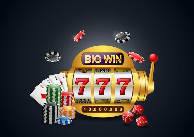 Slot machine 777 con grandi vincite, casinò con chip poker, dadi e carte da gioco. Vettore Premium