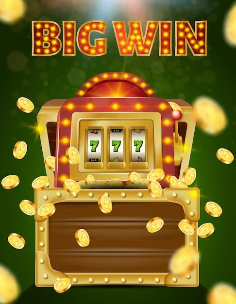 Slot machine con 777 su schermo in cassa di legno Vettore Premium