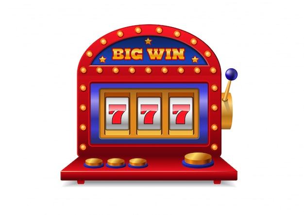 Slot machine con maniglia. casino, dipendenza, gioco d'azzardo. grande concetto di vittoria. Vettore gratuito
