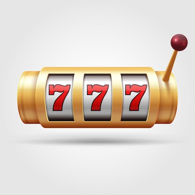 Slot machine del casinò. la bobina di gioco 3d, simbolo fortunato ha isolato l'illustrazione di vettore. Vettore Premium