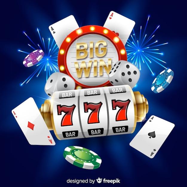 Slot machine grande concetto di vittoria in stile realistico Vettore gratuito