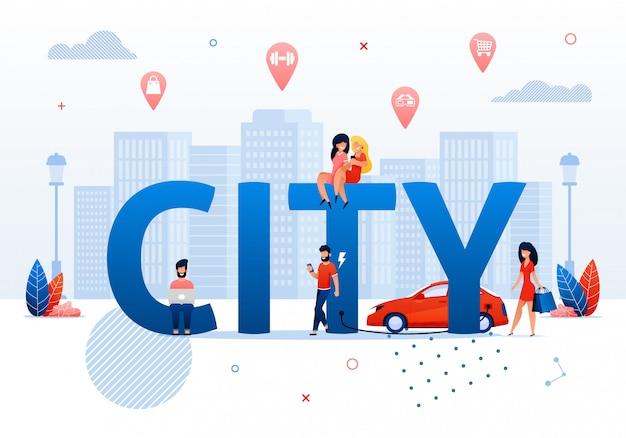 Smart city concept cartoon persone nello spazio pubblico Vettore Premium